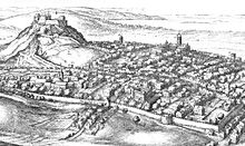B&W engraving: Edinburgh in the 17th century by Wenceslas Hollar